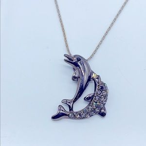 Jumping Twin 🐬 Dolphins 🐬 Metallic Gray Pendant
